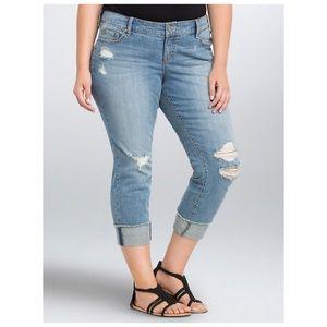 Torrid Cropped Destroyed Boyfriend Jeans